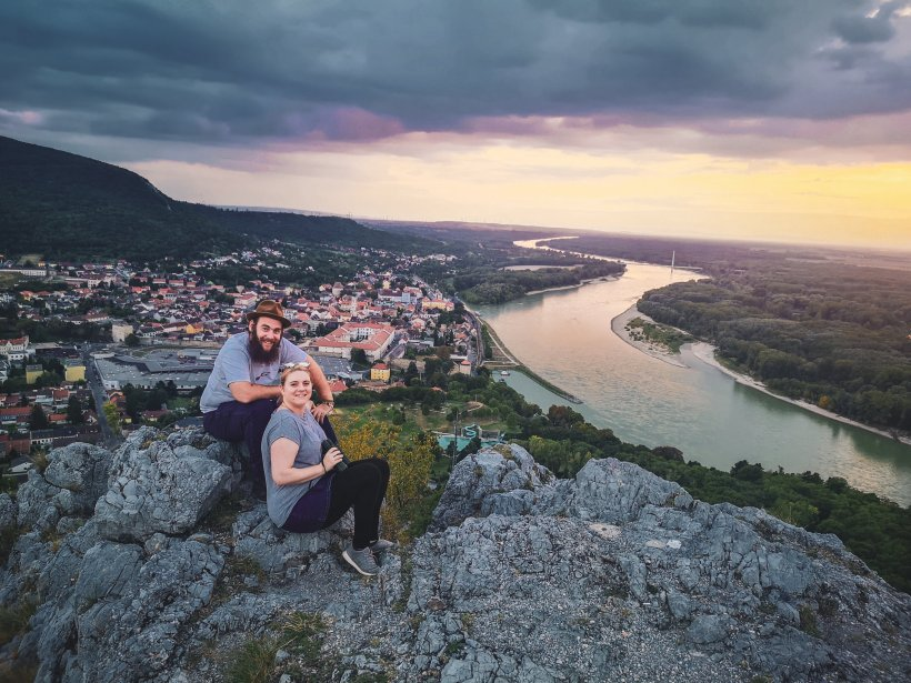 jen and hen on a hill on the Danube river