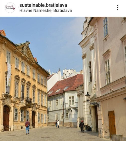 baroque buildings on a street- bratislava instagram account to follow